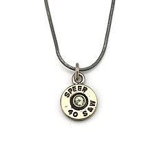 Peace Fire Peridot Necklace by Alexan Cerna and Gina  Tackett (Brass & Stone Necklace)