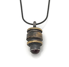 Peace Fire Raspberry Garnet by Alexan Cerna and Gina  Tackett (Brass & Stone Necklace)