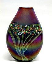 Gold Brown Vines Pouch by Ken Hanson and Ingrid Hanson (Art Glass Vase)