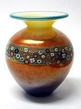 Mango Vines Vase by Ken Hanson and Ingrid Hanson (Art Glass Vase)