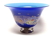 Azure Blue and Cobalt Blossom Bowl by Ken Hanson and Ingrid Hanson (Art Glass Bowl)