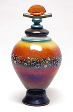 Lidded Mango Vines Vessel by Ken Hanson and Ingrid Hanson (Art Glass Vessel)