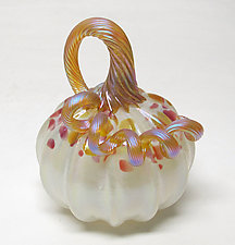 Fumed Opaline Pumpkin by Ken Hanson and Ingrid Hanson (Art Glass Sculpture)