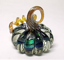 Large Clear and Dichroic Pumpkin by Ken Hanson and Ingrid Hanson (Art Glass Sculpture)