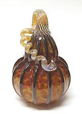Harvest with Black Stripes Gourd by Ken Hanson and Ingrid Hanson (Art Glass Sculpture)