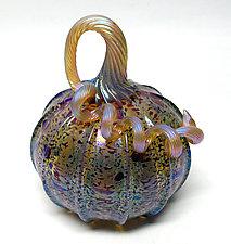 Leopard Pumpkin by Ken Hanson and Ingrid Hanson (Art Glass Sculpture)