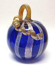 Cobalt Latticino and Dichroic Glass Pumpkin by Ken Hanson and Ingrid Hanson (Art Glass Sculpture)