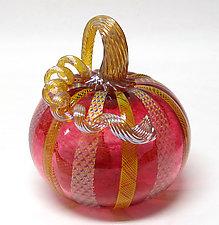 Ruby Latticino and Dichroic Glass Pumpkin by Ken Hanson and Ingrid Hanson (Art Glass Sculpture)