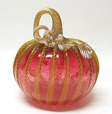 Ruby Pumpkin with Yellow Latticino by Ken Hanson and Ingrid Hanson (Art Glass Sculpture)