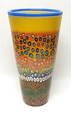 Large Primrose Garden Cylinder by Ken Hanson and Ingrid Hanson (Art Glass Vase)