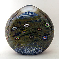 Aqua Vines Paperweight by Ken Hanson and Ingrid Hanson (Art Glass Paperweight)