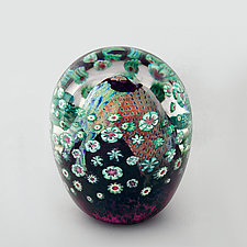 Purple and Celadon Floral Paperweight by Ken Hanson and Ingrid Hanson (Art Glass Paperweight)