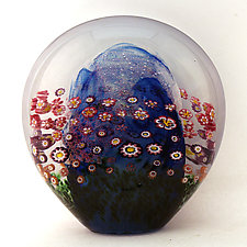 Aqua Floral Paperweight II by Ken Hanson and Ingrid Hanson (Art Glass Paperweight)