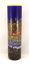 Lapiz Blue Garden Cylinder by Ken Hanson and Ingrid Hanson (Art Glass Vase)