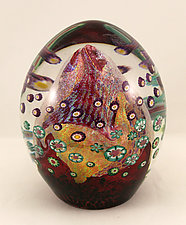 Ruby Floral by Ken Hanson and Ingrid Hanson (Art Glass Paperweight)