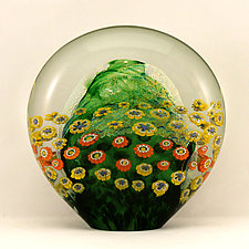 Flattened Moss Green Floral Paperweight by Ken Hanson and Ingrid Hanson (Art Glass Paperweight)