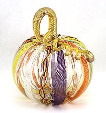 Large Latticino Cane Pumpkin by Ken Hanson and Ingrid Hanson (Art Glass Sculpture)