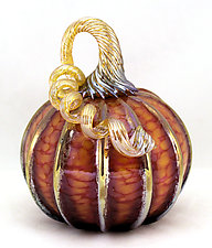 Small Harvest with Gold Stripes Pumpkin by Ken Hanson and Ingrid Hanson (Art Glass Sculpture)