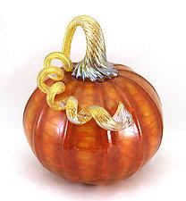 Large Orange Harvest Pumpkin by Ken Hanson and Ingrid Hanson (Art Glass Sculpture)