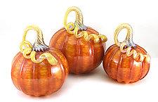 Orange Harvest with Gold Pumpkins by Ken Hanson and Ingrid Hanson (Art Glass Sculpture)