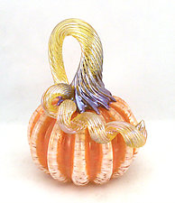Miniature Peach Pumpkin by Ken Hanson and Ingrid Hanson (Art Glass Sculpture)