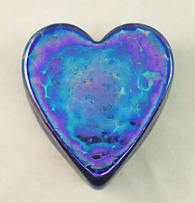Silver Blue Heart Paperweight by Ken Hanson and Ingrid Hanson (Art Glass Paperweight)