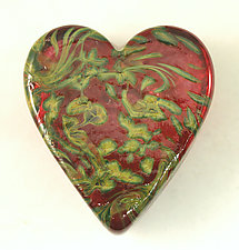 Ruby Swirl Heart Paperweight by Ken Hanson and Ingrid Hanson (Art Glass Paperweight)
