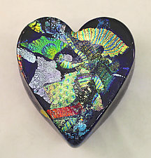 Cobalt Dichroic Glass Heart Paperweight by Ken Hanson and Ingrid Hanson (Art Glass Paperweight)