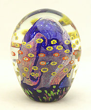 Small Cobalt Floral Paperweight by Ken Hanson and Ingrid Hanson (Art Glass Paperweight)