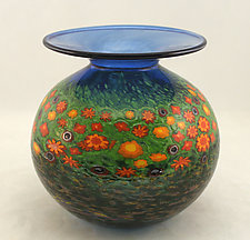 Poppy Puffer Vase by Ken Hanson and Ingrid Hanson (Art Glass Vase)