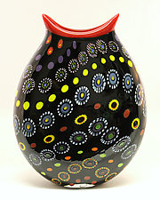 Black Marrakesh Vase by Ken Hanson and Ingrid Hanson (Art Glass Vase)
