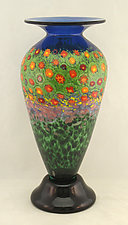Tall Classic Poppy Vase by Ken Hanson and Ingrid Hanson (Art Glass Vase)