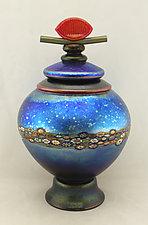 Silver Blue Lidded Vines Vessel by Ken Hanson and Ingrid Hanson (Art Glass Vessel)
