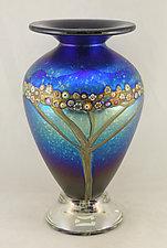 Silver Blue Classic Vines Vase by Ken Hanson and Ingrid Hanson (Art Glass Vase)