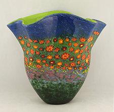 Poppy Fan Vase by Ken Hanson and Ingrid Hanson (Art Glass Vase)