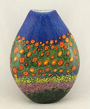 Poppy Pouch Vase by Ken Hanson and Ingrid Hanson (Art Glass Vase)