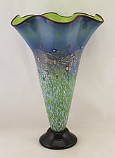 Fluted Meadow Trumpet Vase by Ken Hanson and Ingrid Hanson (Art Glass Vase)