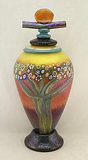 Large Mango Vines Lidded Jar by Ken Hanson and Ingrid Hanson (Art Glass Bottle)