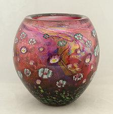 Small Ruby Island Series Bowl by Ken Hanson and Ingrid Hanson (Art Glass Bowl)