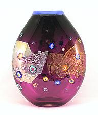 Round Amethyst Blossom Vase by Ken Hanson and Ingrid Hanson (Art Glass Vase)