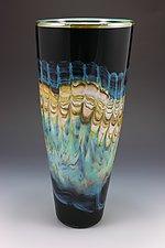 Black Opal Cone by Danielle Blade and Stephen Gartner (Art Glass Vase)