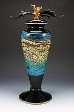 Black Opal Footed Vessel with Avian Finial by Danielle Blade and Stephen Gartner (Art Glass Vessel)