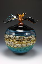 Turquoise Opal Covered Sphere by Danielle Blade and Stephen Gartner (Art Glass Vessel)