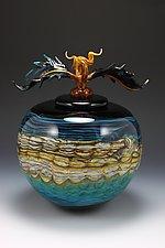 Turquoise Opal Covered Sphere by Danielle Blade and Stephen Gartner (Art Glass Vessel)