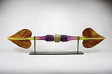 Amethyst and Lime Austral with Sphere Inclusion by Danielle Blade and Stephen Gartner (Art Glass Sculpture)