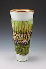 White Opal Cone by Danielle Blade and Stephen Gartner (Art Glass Vase)