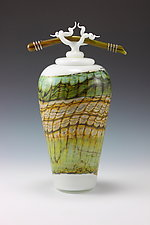 White Opal Covered Jar with Bone and Tendril Finial by Danielle Blade and Stephen Gartner (Art Glass Vessel)