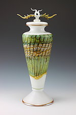 White Opal Covered Vessel with Avian Finial by Danielle Blade and Stephen Gartner (Art Glass Vessel)