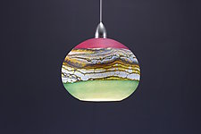 Round Strata Pendant in Amethyst & Sage by Danielle Blade and Stephen Gartner (Art Glass Pendant Lamp)