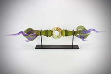 Lime and Amethyst Austral Sculpture by Danielle Blade and Stephen Gartner (Art Glass Sculpture)